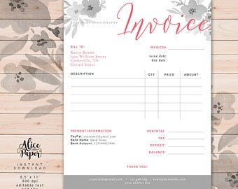 Invoice Template Photography Invoice Receipt Template For Photographers Business Invoice Photography Forms Photoshop Template Psd File Photography Invoice Invoice Template Receipt Template