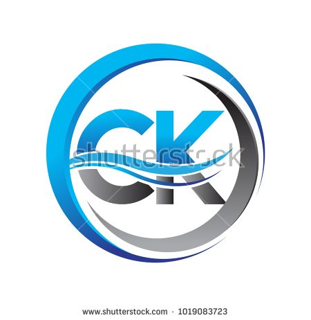 initial letter logo CK company name blue and grey color on