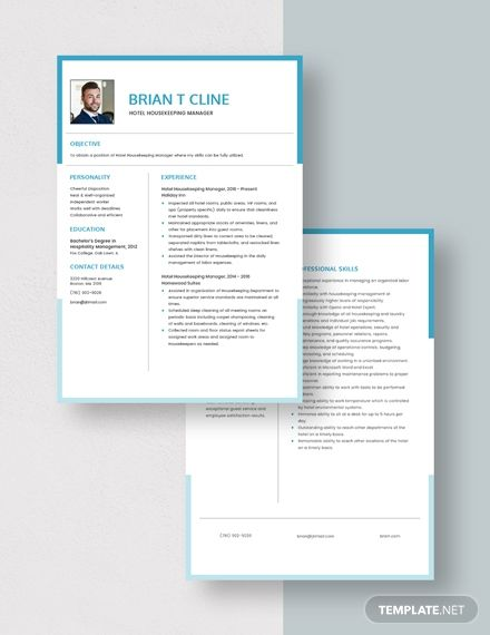 Hotel Housekeeping Manager Resume Template In 2020 Hotel Housekeeping Resume Template Manager Resume