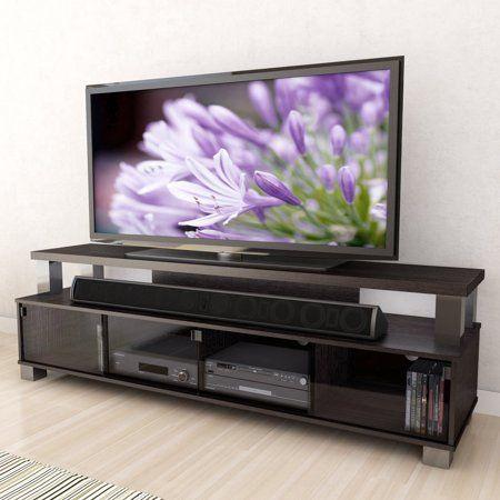 Corliving Bromley 75 2 Tier Tv Stand In Ravenwood Black Walmart Com Tv Bench Modern Tv Stand Corliving