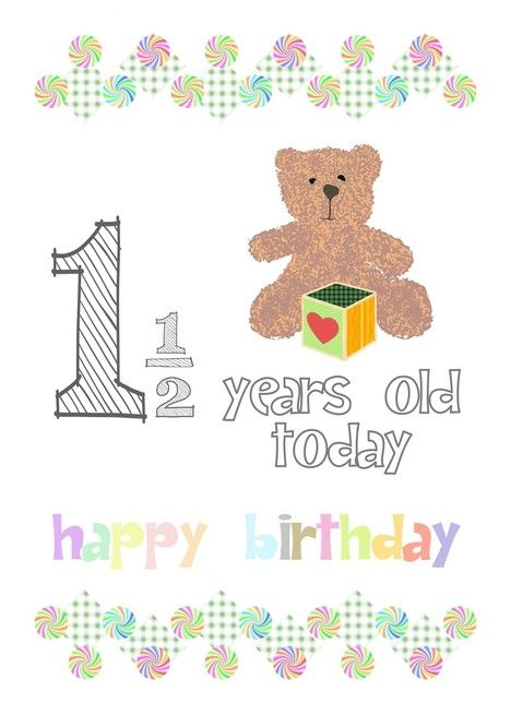 One And A Half Years Old Teddy Bear And Colored Toy Cube Birthday Card Ad Affiliate Bea Funny Happy Birthday Wishes Birthday Cards Greeting Card Artist