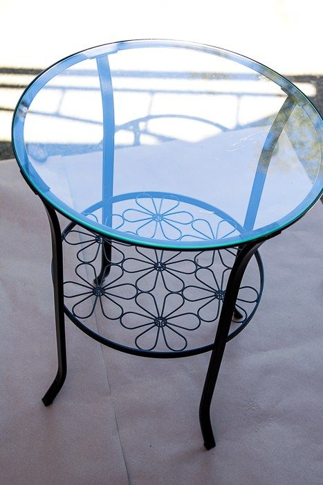 How To Make Over A Simple Ikea Table In 3 Easy Steps Glass Table Redo Ikea Table Ikea Round Table
