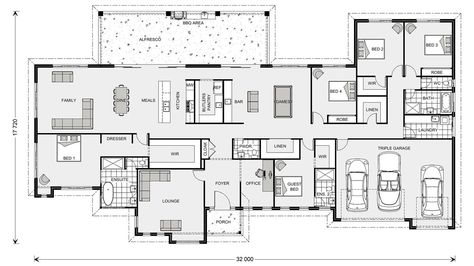 Floor Plan Friday 5 Bedroom Acreage Style Home With Triple Garage House Plans Australia Floor Plans 5 Bedroom House Plans