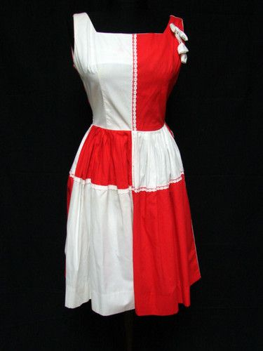 1950s 60s Vintage Two Tone Red White Fit Flare Sleeveless Cotton Dress | eBay