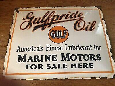 Ebay Rare Vintage Gulf Oil Gulfpride Oil Enamel Sign Oils Motor Oil Vintage Vintage