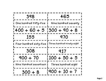 expanded form versus standard form  Standard Form, Expanded Form, Word Form: Match Up | Expanded ...