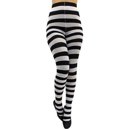 Women Ankle Length Skinny Leggings Black White Horizontal Striped Pants Tights Q