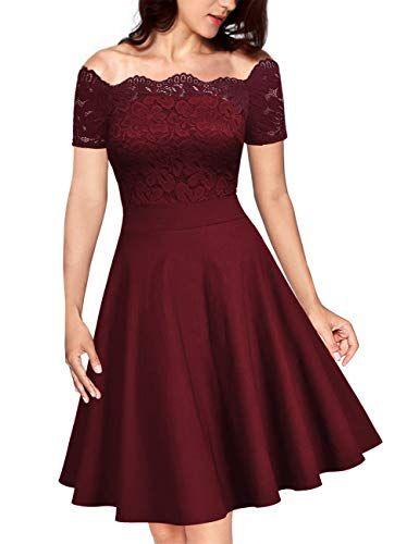 Kojooin Damen Vintage 1950er Spitzen Cocktailkleid Brautjungfernkleider Fur Hochzeit Kurze Abendkleider Wei Kleider Damen Damen Kleider Festlich Ballkleid Kurz