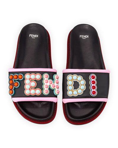 X3W50 Fendi Fun Fair Flat Slide Sandal