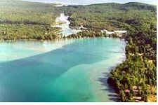 Torch Lake - within an hour of Traverse City, Gaylord, Petoskey, this is MI's longest inland lake at 18 miles, and the beautiful color is reminiscent of the Caribbean.