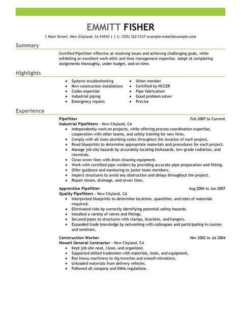 Resume Sample For Pipefitter -   resumesdesign/resume