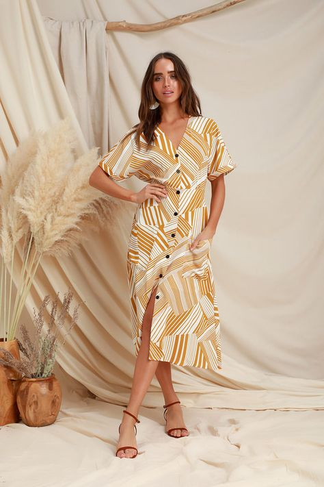 Pair the LUSH Murni Mustard Yellow Print Button-Up Midi Dress with a woven purse and platform sandals! Varying stripe print accents this button-up midi dress.