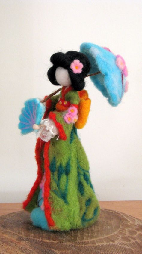 Art doll Geisha doll Waldorf inspired Needle felted geisha