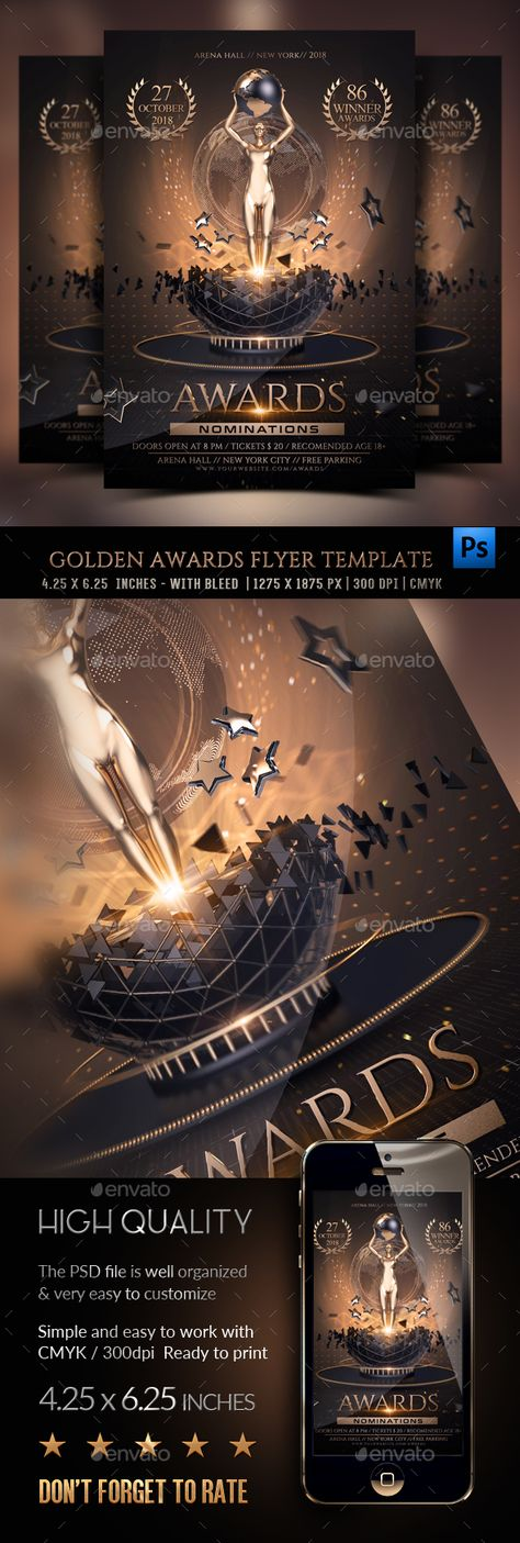 Golden Awards Flyer Graphics Party Flyer And Template