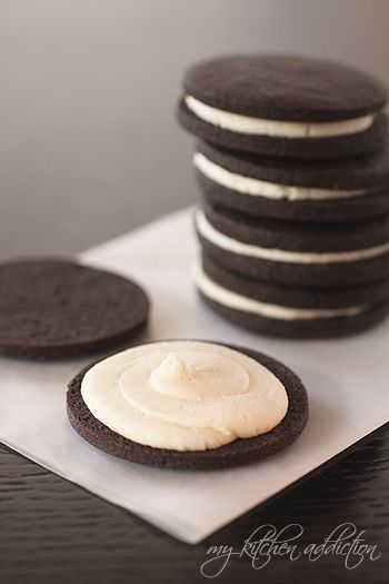 """Homemade Oreos. Just like """"real"""" Oreos, but without all the chemical garbage. Hershey's special dark cocoa, not dutched - resulting cookie tastes EXACTLY like Oreos, with same brown/black color. Filling is even more delicious than original, because there's no shortening. Chill to firm it up after sandwiching together."""
