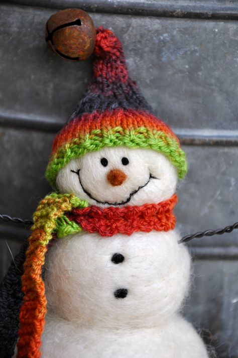 Snowman Needle Felted hand spun and knit hat by BearCreekDesign