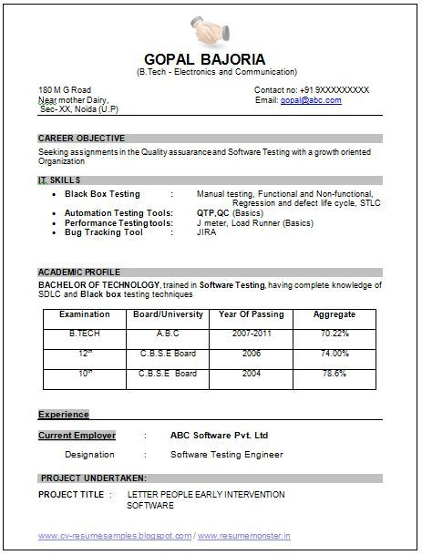 Sample Template Of An Excellent B Tech Ece Electronics And Communication Resume Resume Format Download Professional Resume Samples Resume Format For Freshers
