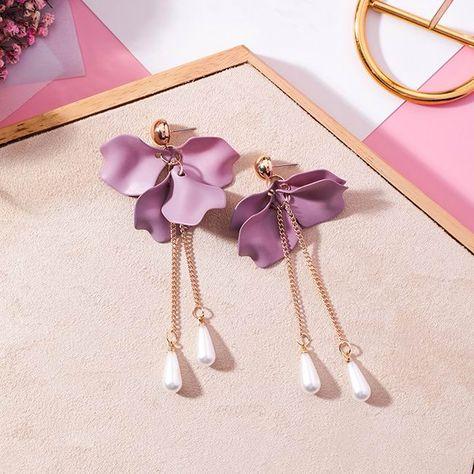 *UK* Amethyst Heart Flower 925 Sterling Silver Tassel Pearl Drop Long Earrings
