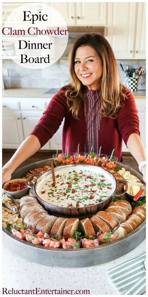 Make a pot of Best Clam Chowder for this Epic Clam Chowder Dinner Board. Serve with shrimp cocktail, bread, your favorite crackers! #bestclamchowder #epicclamchowderboard #clamchowder #clamchowderdinner #reluctantentertainer