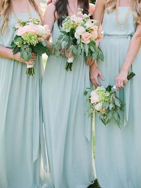 Simple Straight Mint Green Long Bridesmaid Dresses Bw0425 Simple