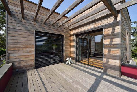 Vue Sur La Terrasse De L Etage Avec Pergola Bois Et Bardage Red