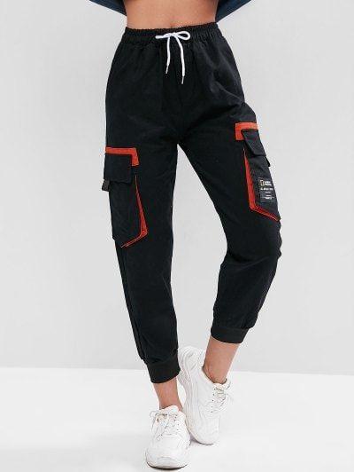 Zaful Drawstring Slogan Patched Flap Pockets Jogger Pants Pantalones De Moda Moda De Ropa Ropa
