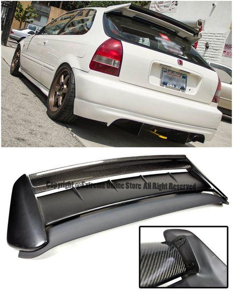 Amazon Com For 96 00 Honda Civic Ek9 3dr Hatchback Seeker V2 Style Carbon Fiber Rear Roof Lip Wing W Type R Base Spoiler 1 Honda Civic Civic 2000 Honda Civic