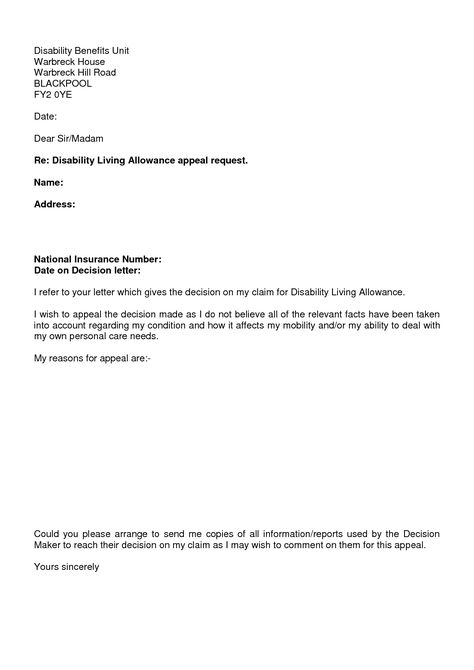 Photos Disability Claim Appeal Letter Sample Insurance Denial