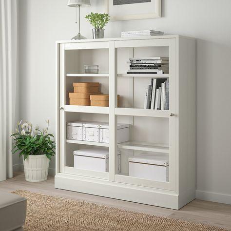 Havsta Glass Door Cabinet With Base White Clear Glass 47 5 8x14 5 8x52 3 4 Ikea In 2020 Glass Cabinet Doors Cabinet Decor Glass Door