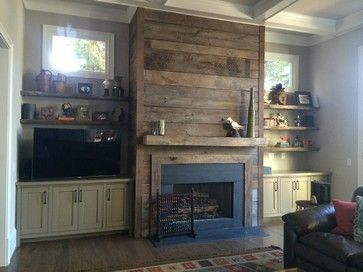 Reclaimed Wood Fireplace Design Ideas, Pictures, Remodel and Decor