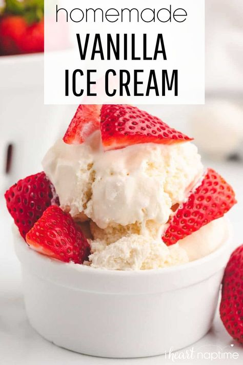 This homemade vanilla ice cream recipe is super easy to make and contains NO eggs! It tastes just as creamy as the old fashioned version, but is quicker and requires less work (no simmering on the stove top beforehand). It's the perfect refreshing treat to cool off with on a hot summer day, or when you're craving a little late night sweet treat!