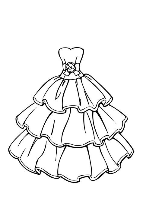 Wedding Dress Beautiful Coloring Page For Girls Printable Free Dress Drawing Dress Design Drawing Wedding Coloring Pages