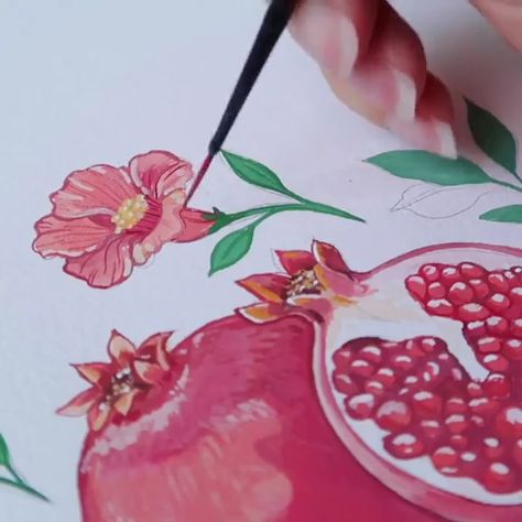 """""""Want to know how to draw a pomegranate? Watch this video 🎥 and be sure to use the right materials. Gouache Paint has a rich viscosity to make your paintings pop right off the page!  Artist Credit: @sandra__ruberto"""""""