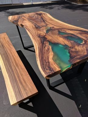 Fine Sold Live Edge Dining Table Bench Combo With Custom Resin Machost Co Dining Chair Design Ideas Machostcouk