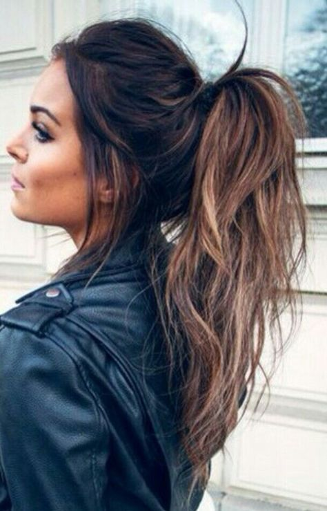 Balayage Messy Ponytail Hair Styles Brunette Hair Color Long Hair Styles