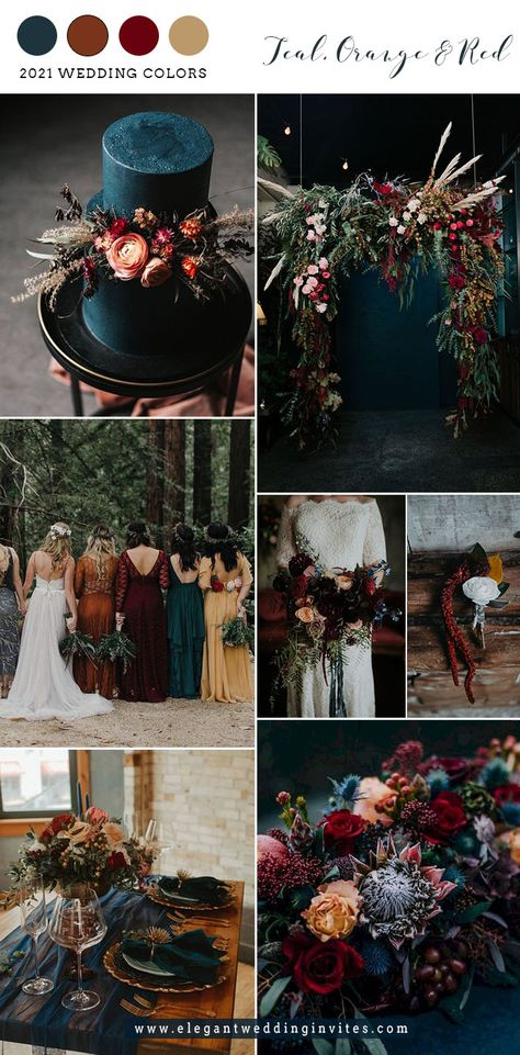 Wedding Color Pallet, Fall Wedding Colors, Wedding Color Schemes, Color Themes For Wedding, Spring Wedding Themes, February Wedding Colors, Wedding Ideas, Dark Teal Weddings, Dark Red Wedding