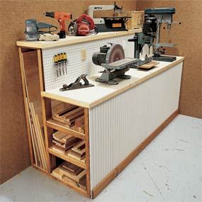 Workshop Organization Tips. 5 one day projects to improve your shop. Workbench with lumber storage space. This simple workbench doubles as a storage rack for those long pieces of lumber and plywood that tend to clutter your workshop. We must build this one!