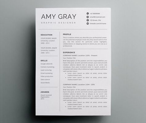 Professional resume template \/ CV by Nordic Designs on - print resume