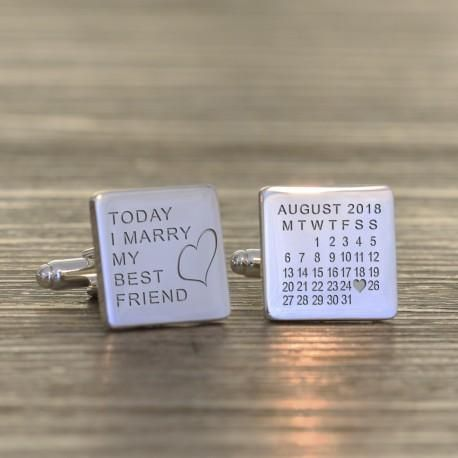 Wedding Cufflinks Personalised Engraved Silver Plated When ....Married.....