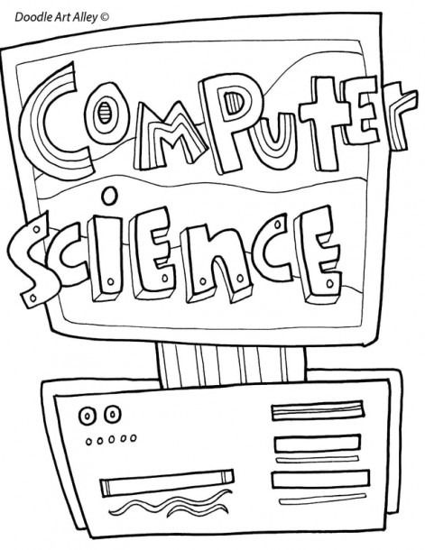 Printable Coloring Pages Computer Science School Book Covers Science Notebook Cover Cover Pages