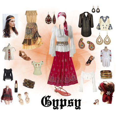 With a simple tiered skirt, peasant blouse and accessories you can make a beautiful gypsy costume this Halloween right from items you have in your closet.