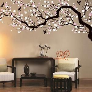 Tree Wall Decal Nursery Wall Stickers 4 Large Bare Winter Etsy Pink Blossom Tree Tree Wall Decal Tree Wall Painting