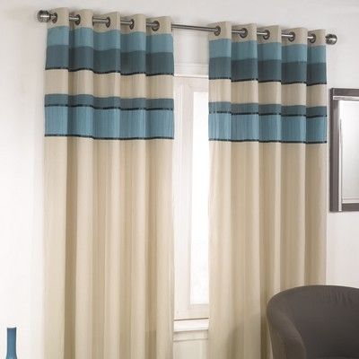 Tonal Lined Eyelet Curtains In Teal With Matching Accessories