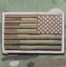 Green Reverse US American Flag Patch VELCRO® BRAND Hook Fastener Compatible