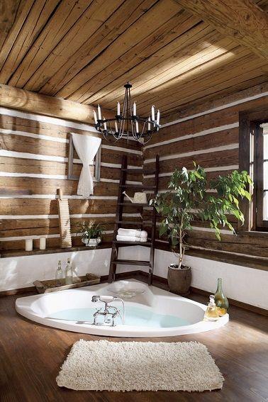 Salle de bain en bois ambiance spa