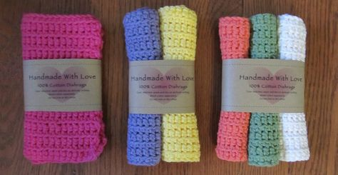 Reusable Crochet Dishcloths - Instructions and two free printable gift labels included.