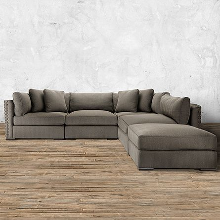 The Arhaus Truffle 122  Five Piece Upholstered Sectional in Milano Millstone offers deep luxurious seating that transforms to suit your space. : arhaus sectional - Sectionals, Sofas & Couches