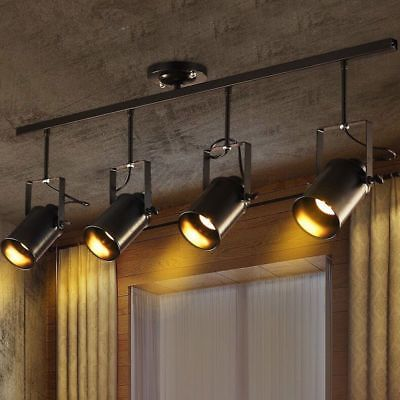 Details About 4 Light Industrial Edison Loft Track Lamp Retro