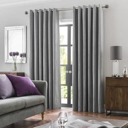 Oxford Dove Grey Chenille Eyelet Curtains 1000 In 2020 Grey Curtains Living Room Curtains Living Room Modern Living Room Drapes