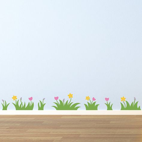 grass and flowers wall decal - set of 7 grass patches with flowers